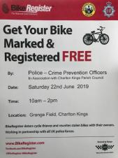 Free Bike Marking and Registration Event - Saturday, 22nd June 2019