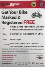 FREE Bike Marking and Registration Event - Saturday, 21st September 2019