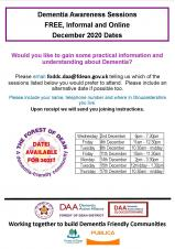 Dementia Awareness Sessions - FREE and online throughout December